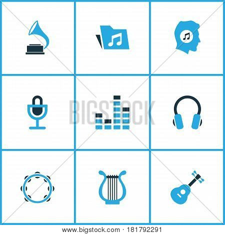 Multimedia Colored Icons Set. Collection Of Tambourine, Headset, Gramophone And Other Elements. Also Includes Symbols Such As Musical, Headset, Antique.