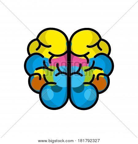 mental health brain art line icon, vector illustration
