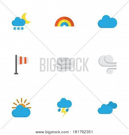 Nature Flat Icons Set. Collection Of Windy, Storm, Lightning And Other Elements. Also Includes Symbols Such As Outbreak, Sun, Cloudy.