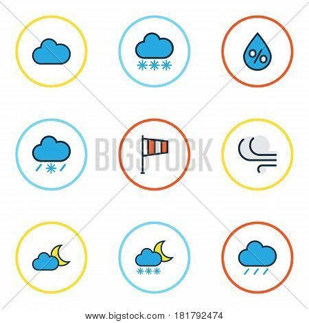 Weather Colored Outlines Set. Collection Of Raindrop, Hail, Twilight And Other Elements. Also Includes Symbols Such As Breeze, Tempest, Overcast.