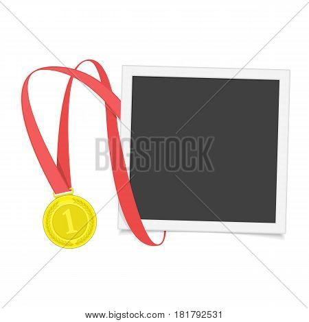 Vector photo frame template with medal of winner. Blank photograph, gold award with red ribbon isolated on white background. Concept of an award of the winner. EPS 10.