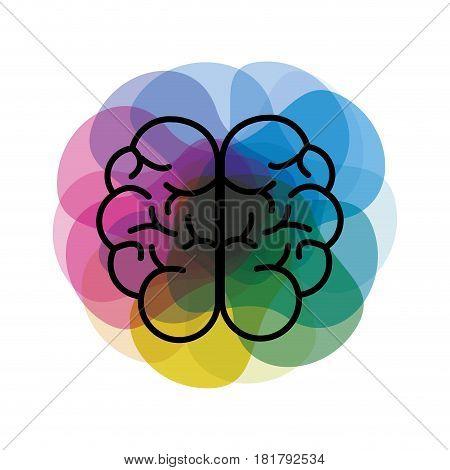 watercolor mental health brain art icon, vector illustration