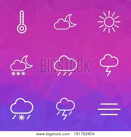 Nature Outlines Set. Collection Of Wind, Snowy Raining, Snowfall And Other Elements. Also Includes Symbols Such As Moonshine, Cold, Storm.