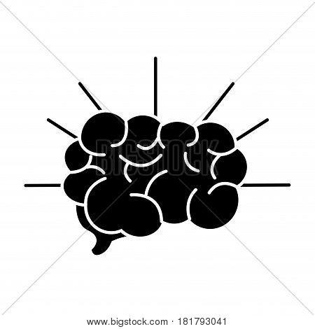 silhouette mental health smart brain line icon, vector illustration design