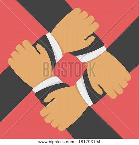 Teamwork, cooperation vector illustration in flat style. Four Businessman hands hold each other. Achieving results joint efforts. Team Work, cooperation or business concept. EPS 10.