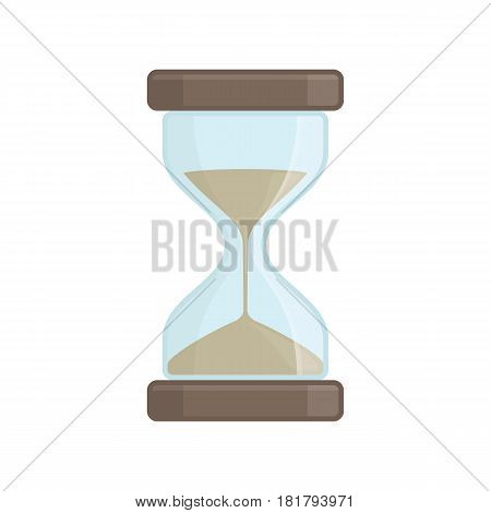 Hourglass icon in flat style isolate on white background. Business and time management concept. Sandglass or sand clock sign. Vector illustration. EPS 10.