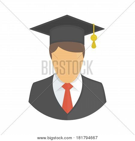 Graduate icon in flat style. Man in a black suit with a tie and square academic cap. Graduation concepts. Student avatar sign. Vector illustration. EPS 10.