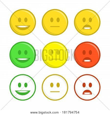 Feedback emoticon concept. Rank or level of satisfaction rating. Review in form of emotions, smileys, emoji. User experience. Customer Feedback Manometer vector set.
