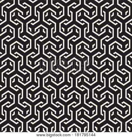 Vector Seamless Interlacing Lines Pattern. Modern Stylish Texture. Repeating Geometric Background With Hexagonal Lattice.