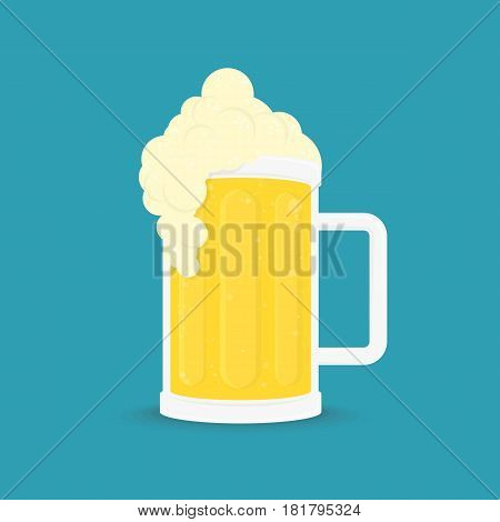 Lager beer icon with shadow. Glass with Beer ale isolated on background. Alcoholic beverage festival concept. Glass of booze in flat style. Vector illustration. EPS 10.