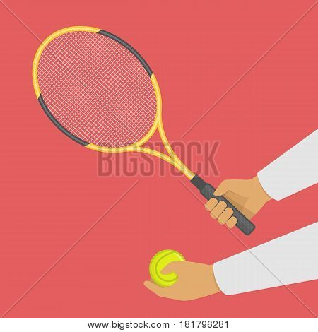 Tennis racket and ball in hand. Sports lifestyle concept. Man playing a sports game. Vector illustration in modern flat style. EPS 10.