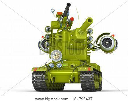 Cartoon Ultra Tank. Science Fiction Military Equipment. 3D Illustration.