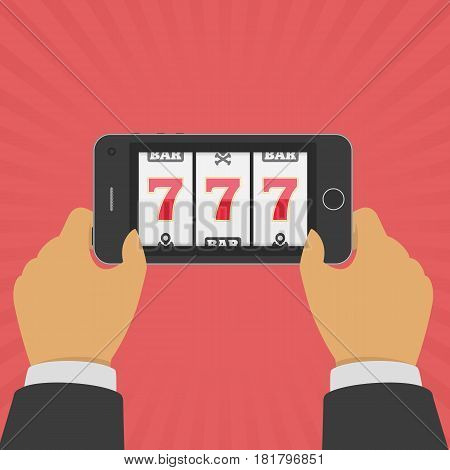 Smartphone in Hand with casino slot machine on screen. Lucky seven Jackpot on mobile phone. Gambling app concepts. Businessman holding device with gambling game. Vector illustration in flat style.