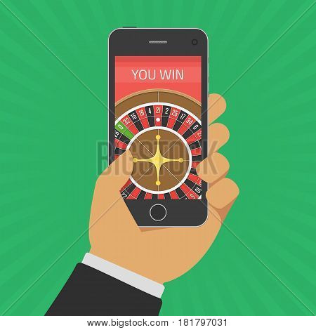 Smart phone in Hand with casino roulette wheel on screen. Gambling app concepts. Businessman holding device with gambling game. Vector illustration in flat style. EPS 10.