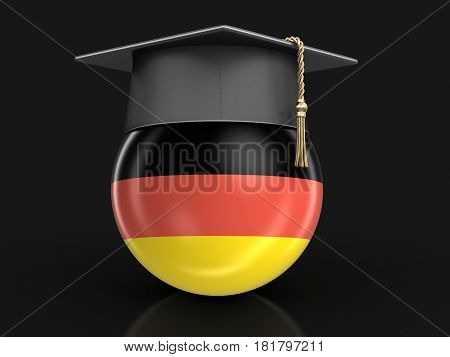 3d Illustration. Graduation cap and German flag. Image with clipping path