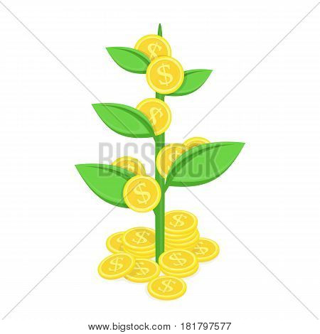 Money tree with gold coins growing. Plant growth from dollars. Business, financial, economic or investment concept. Vector illustration in modern flat style. EPS 10.