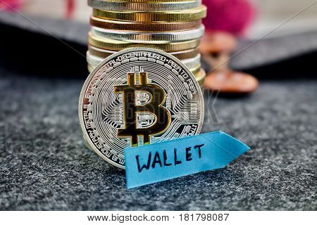 Bitcoin Silver Coin And Blue Arrow