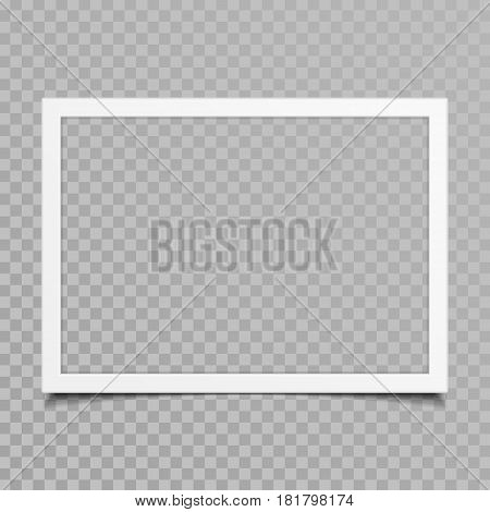 Blank photo frames with shadow effects isolated on transparent background. Vintage photos frame for your picture. Vector illustration in realistic style. EPS 10.