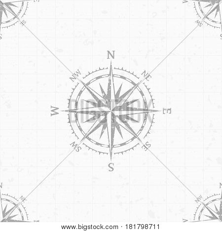 Wind rose seamless pattern in retro black and white style, for wallpaper or travel backdrop design. Vintage nautical compass background. Marine theme. Vector illustration. EPS 10.