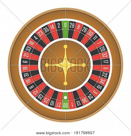 Detailed casino roulette wheel isolated on white background. Gambling games concept. Vector illustration. EPS 10.