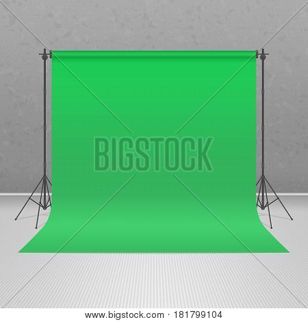 Empty green photo studio. Realistic style 3D template mock up. Equipment for photography, filming scenes of the movie. Vector illustration EPS 10.