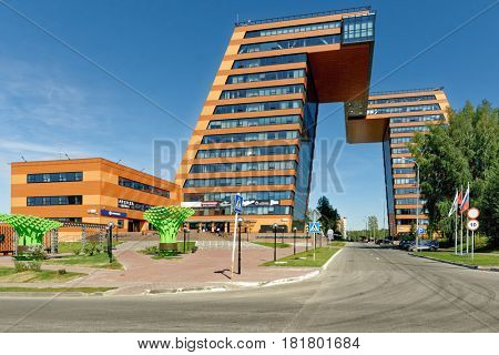 NOVOSIBIRSK, RUSSIA - AUGUST 31, 2014: Building of Information Technology Center in Akademgorodok. The building completed in 2013 become one of the symbols of Novosibirsk technopark
