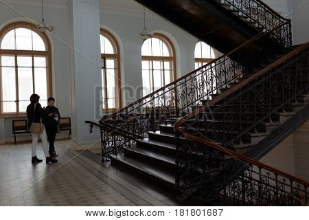 ST. PETERSBURG, RUSSIA - SEPTEMBER 19, 2015: Students in the main building of Peter the Great Saint-Petersburg Polytechnic University during PolyFest. The building was erected in 1900-1902
