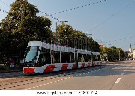 TALLINN, ESTONIA - AUGUST 20, 2016: Modern tram on the Viru square. The first tram route in the city was opened in 1888