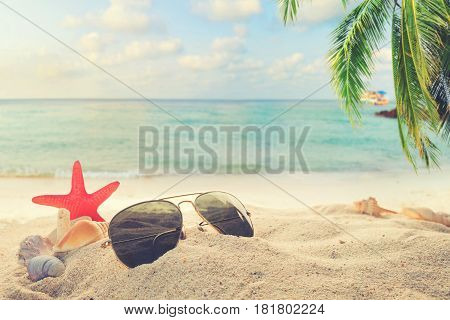 Sunglasses on sandy in seaside summer beach with starfish shells coral on sandbar and blur sea background. Concept of recreation in summertime on tropical beach. vintage color tone styles.