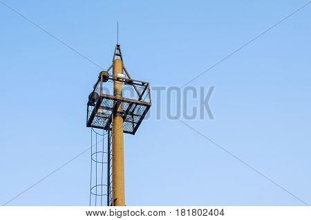 lightning protection towerlightning rodon the blue sky background