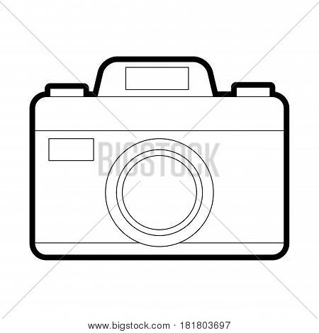 photographic camera icon image vector illustration design bold black outline