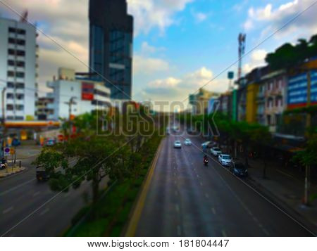 Blurry image, Panoramic View of,  Traffic in the capital , Tilt-shift effect applied