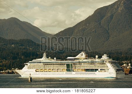 VANCOUVER, BC - AUG 17: Cruise ship in sea on August 17, 2015 in Vancouver, Canada. With 603k population, it is one of the most ethnically diverse cities in Canada.