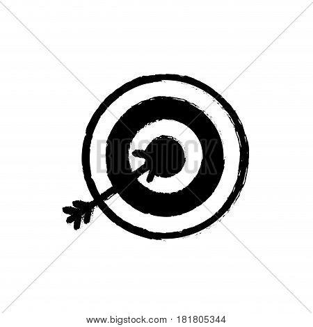 contour flat icon arrow hitting a target, vector illustration