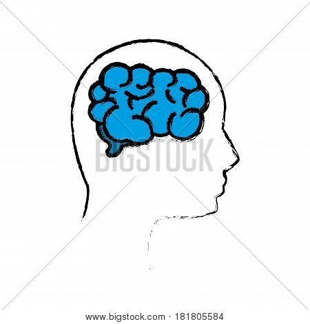 outline mental health person with brain, vector illustration