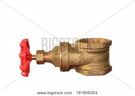brass valve with red knob stale in a factory plumber isolated on white background and clipping path