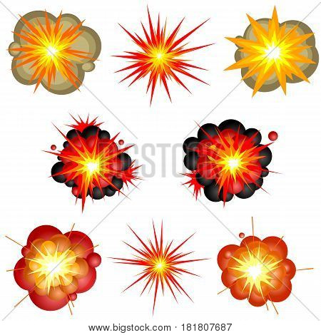 Set of isolated cartoon explosions. Vector illustration