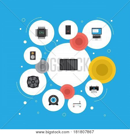 Flat System Unit, Printing Machine, Notebook And Other Vector Elements. Set Of Laptop Flat Symbols Also Includes Camera, Monitor, System Objects.