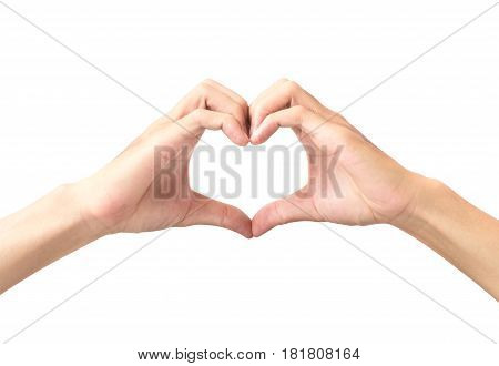 Man hand making heart shape isolated on white background