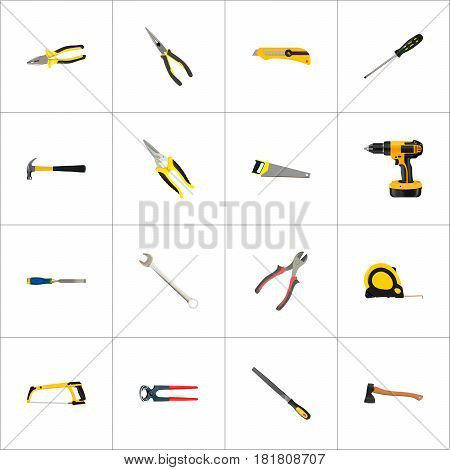 Realistic Carpenter, Turn-Screw, Claw And Other Vector Elements. Set Of Kit Realistic Symbols Also Includes Shear, Iron, Sawmill Objects.