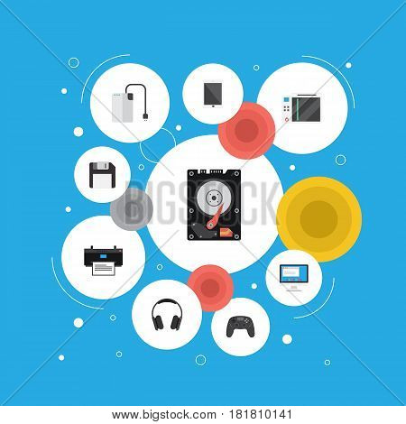 Flat Palmtop, Joystick, Printing Machine And Other Vector Elements. Set Of Laptop Flat Symbols Also Includes Controller, Earphone, Game Objects.