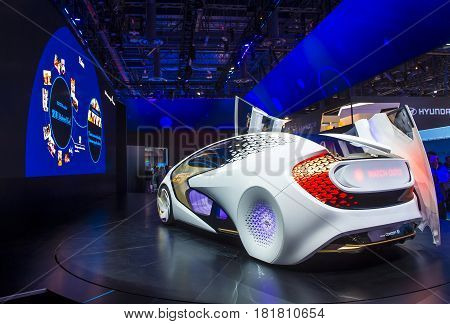LAS VEGAS - JAN 08 : Toyota Concept car at the CES Show in Las Vegas Navada on January 08 2016. CES is the world's leading consumer-electronics show.