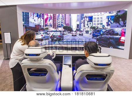 LAS VEGAS - JAN 08 : The Hyundai Mobis Concept car simulator at the CES Show in Las Vegas Navada on January 08 2017. CES is the world's leading consumer-electronics show.