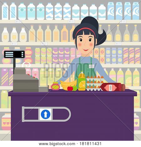 Groceries cashier at work. Female checkout cashier with foods against shelves with goods. EPS10 vector illustration in flat style.