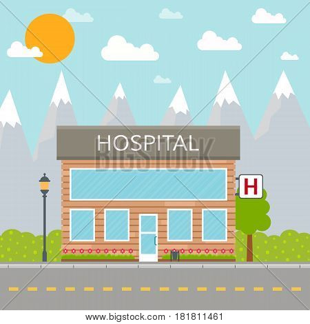 Hospital building icon or clinic front facade on city background. EPS10 vector illustration in flat style.