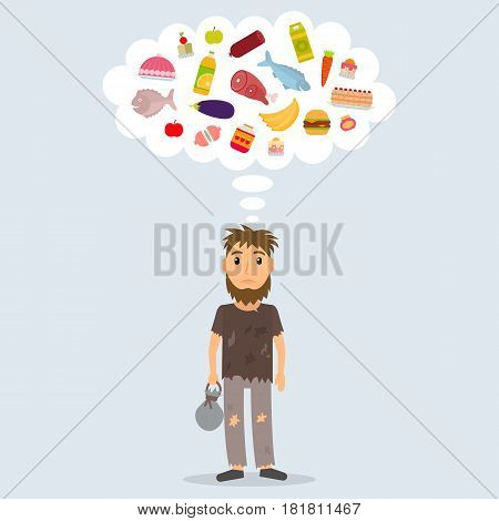 Hungry homeless man dreaming of food. Beggar in rags. EPS10 vector illustration in flat style.