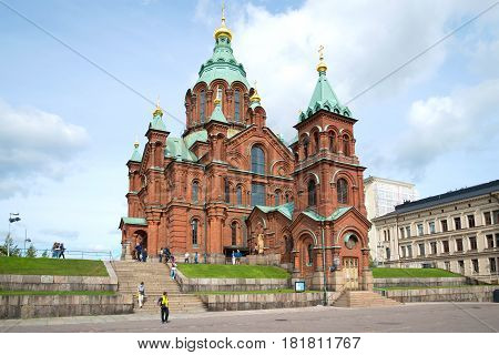 HELSINKI, FINLAND - AUGUST 28, 2016: Orthodox Assumption Cathedral in the August afternoon