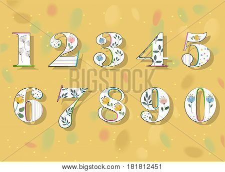 Floral Numerals. White Symbols with colorful decor and Watercolor Flowers. Vector Illustration
