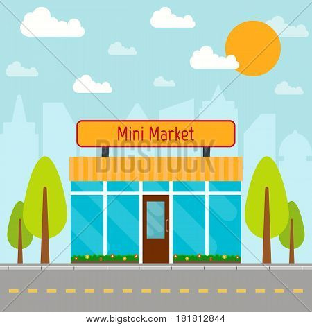 Mini market building on city background. EPS10 vector illustration in flat style.