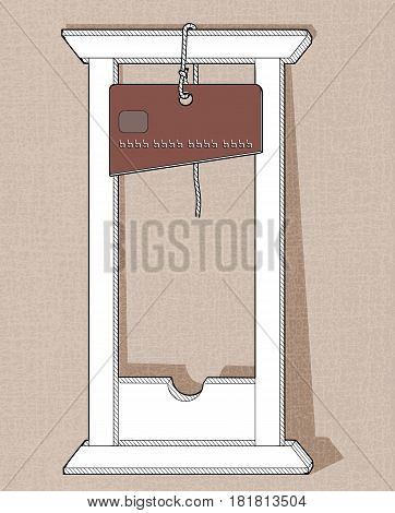 White guillotine with a knife in the form of a credit card. Linear drawing on a textured background